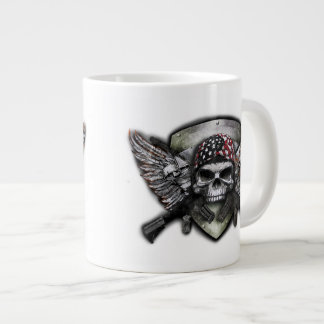 Military Skull With Crossed Gun Special Warfare Large Coffee Mug