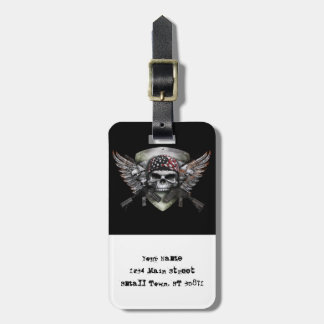 Military Skull With Crossed Gun Special Warfare Luggage Tag