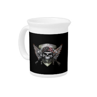 Military Skull With Crossed Gun Special Warfare Drink Pitchers