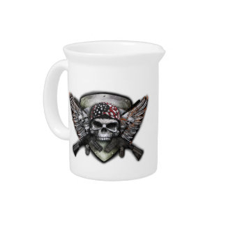 Military Skull With Crossed Gun Special Warfare Pitcher