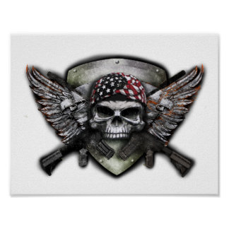 Military Skull With Crossed Gun Special Warfare Poster
