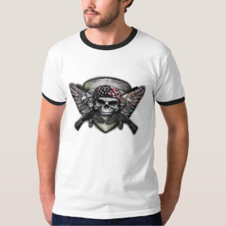 Military Skull With Crossed Gun Special Warfare Shirts