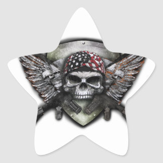 Military Skull With Crossed Gun Special Warfare Star Sticker