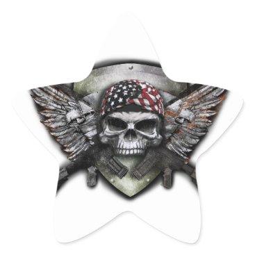 Military Skull With Crossed Gun Special Warfare Star Sticker