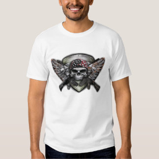 Military Skull With Crossed Gun Special Warfare T-shirt