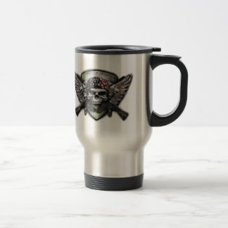 Military Skull With Crossed Gun Special Warfare Travel Mug