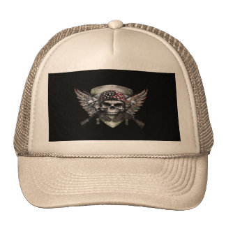 Military Skull With Crossed Gun Special Warfare Trucker Hat