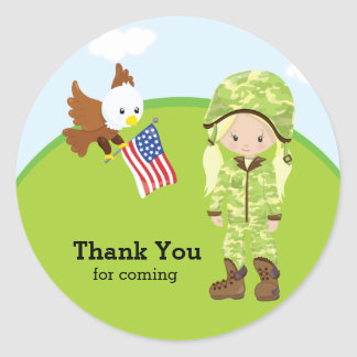 Military Soldier Girl Classic Round Sticker