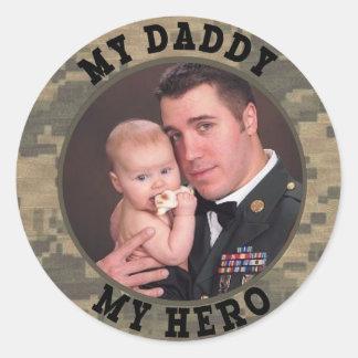 Military Soldier My Daddy My Hero Photo Frame Round Stickers