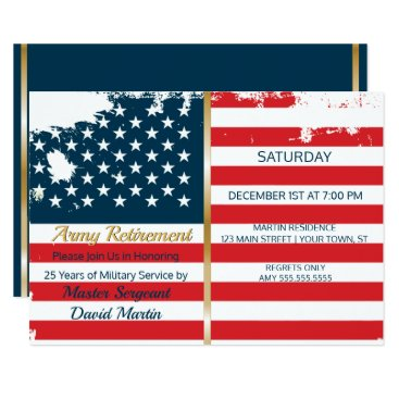 Military Soldier Retirement Party Flag Invitation