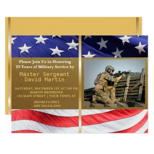 Military Soldier Retirement Party Photo Invitation