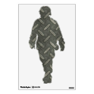 Military Soldier With Diamond Plate Steel Room Sticker