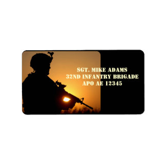 Military Soldier With Rifle At Sunset Custom Address Labels