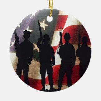 Military Soldiers Silhouette Patriotic Flag Ceramic Ornament