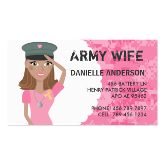 Military Spouse Calling Card (dark skin) Business Card Template
