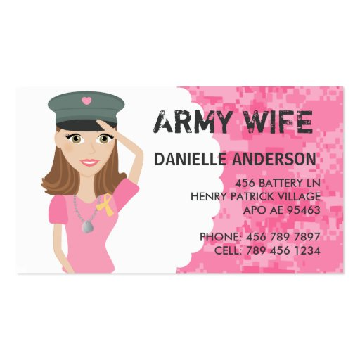 Military Spouse Calling Card Double-Sided Standard Business Cards (Pack Of 100)