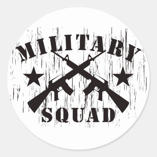 Military Squad M16 - Black Classic Round Sticker