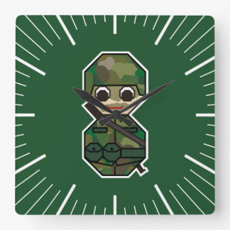 Military Square Wall Clock