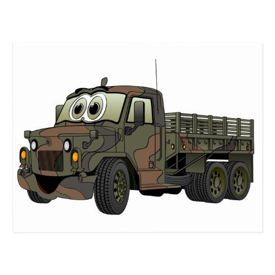 Military Stake Truck Cartoon Postcard