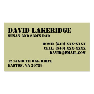 Military Style Daddy Contact Info Card Business Card Templates