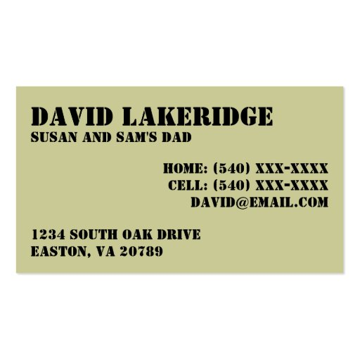 Military Style Daddy Contact  Info Card Double-Sided Standard Business Cards (Pack Of 100)