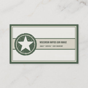military style patriotic star grunge logo business card - Military Business Cards