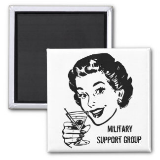 Military support group, martini, cheers, toast magnet