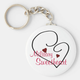 Military Sweetheart Basic Round Button Keychain