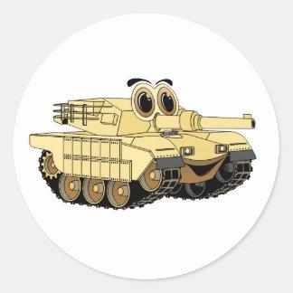 Military Tank Cartoon Round Stickers