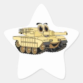 Military Tank Cartoon Star Sticker
