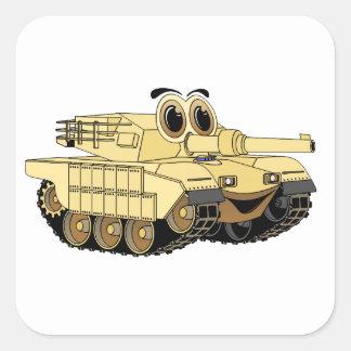 Military Tank Cartoon Square Stickers
