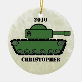 Military Tank Double-Sided Ceramic Round Christmas Ornament