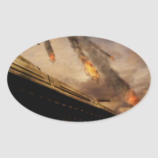 Military Tank on Battlefield Oval Sticker