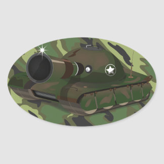 Military Tank Oval Sticker