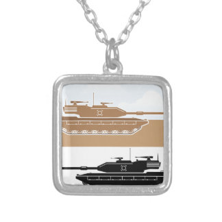 Military Tank simple vector Silver Plated Necklace