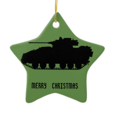 Military Tank Star with Camo Back Ceramic Ornament