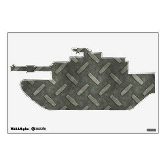 Military Tank With Diamond Plate Steel Room Graphic
