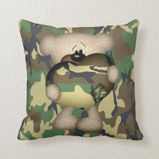 Military Teddy Bear With Giant Heart Throw Pillows