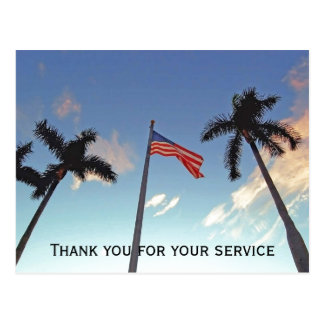 Military Thank You for Service with American Flag Postcard