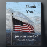 """Military Thank You Plaque<br><div class=""""desc"""">Say thank you to your soldier on this fully customizable,  vintage looking American flag military plaque.  Change the wording if you like,  and be sure to include your soldier&#39;s name. Great gift idea!</div>"""
