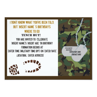 Military theme birthday party 5x7 paper invitation card