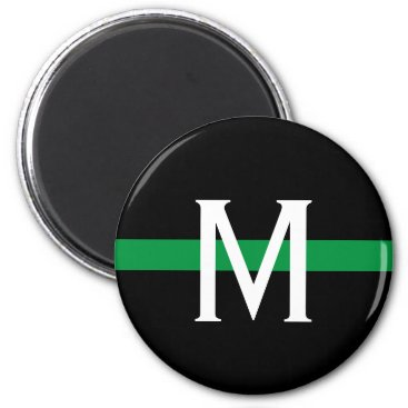 Military Thin Green Line Monogram Magnet