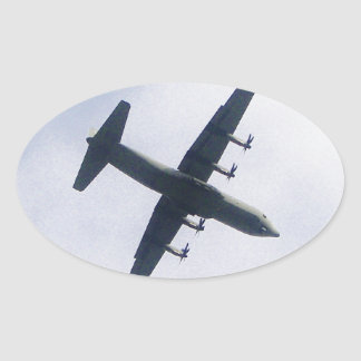 Military Transport Aircraft Oval Sticker