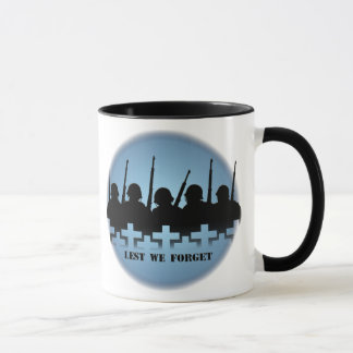 Military Tribute Cup Mug War Peace Lest we Forget