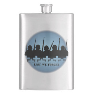 Military Tribute Flask Lest We Forget Drink Flask