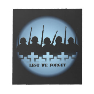 Military Tribute Notepad Lest We Forget Notepad