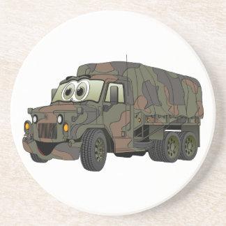 Military Troop Carrier Cartoon Drink Coaster