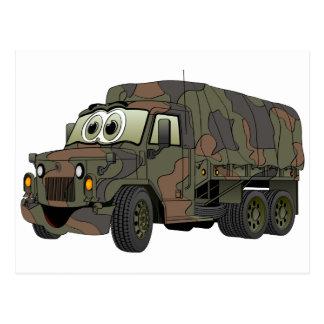 Military Troop Carrier Cartoon Postcard