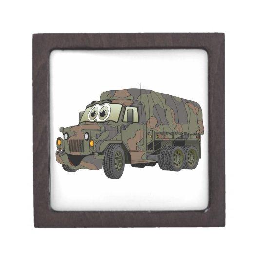 Military Troop Carrier Truck Cartoon Keepsake Box