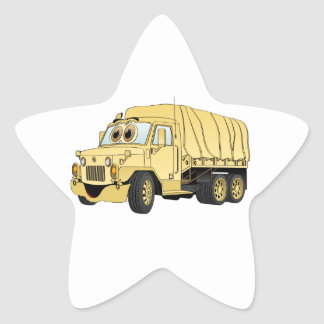 Military Troop Truck Cartoon Sand Star Sticker